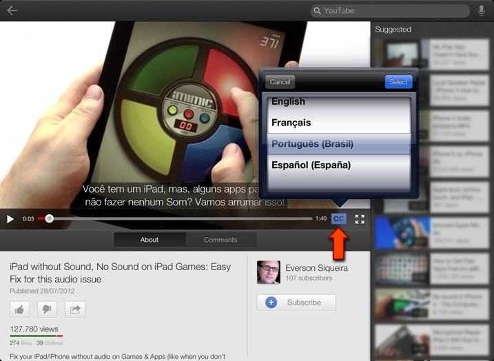 Closed Captions in YouTube's App for iPad with sound problems
